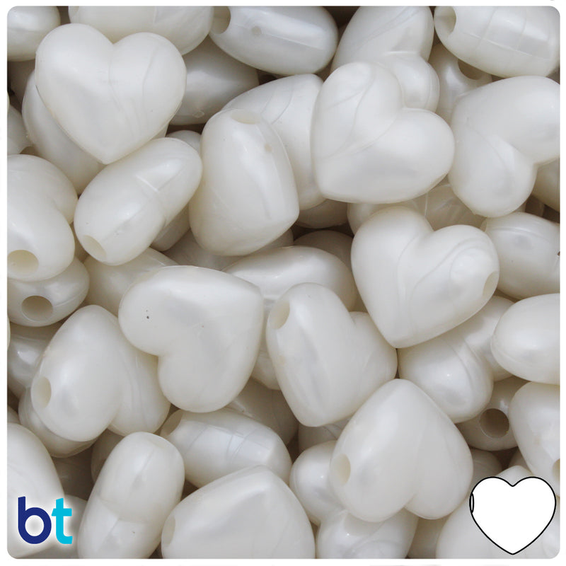 Bridal Pearl 18mm Heart Pony Beads (24pcs)