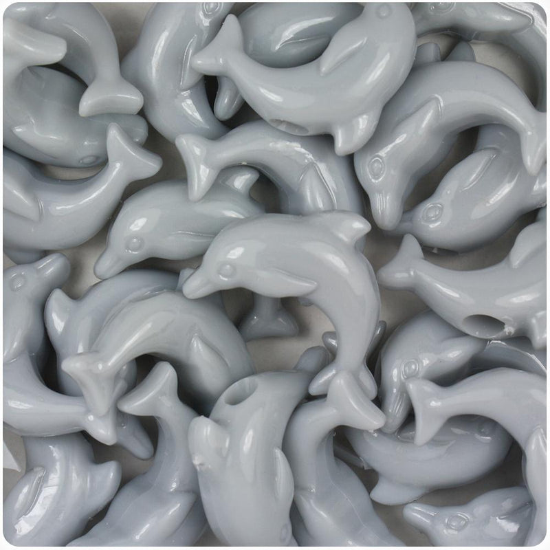 Grey Opaque 25mm Dolphin Pony Beads (10pcs)