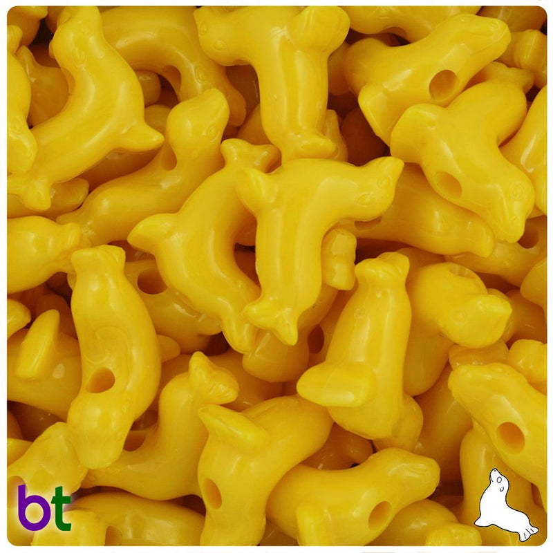 Bright Yellow Opaque 24mm Seal Pony Beads (10pcs)