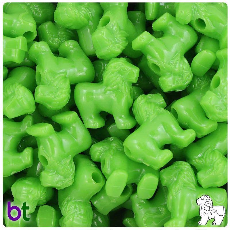 Lime Opaque 22mm Lion Pony Beads (10pcs)