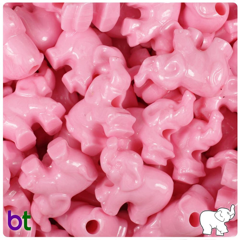 Baby Pink Opaque 25mm Elephant Pony Beads (10pcs)