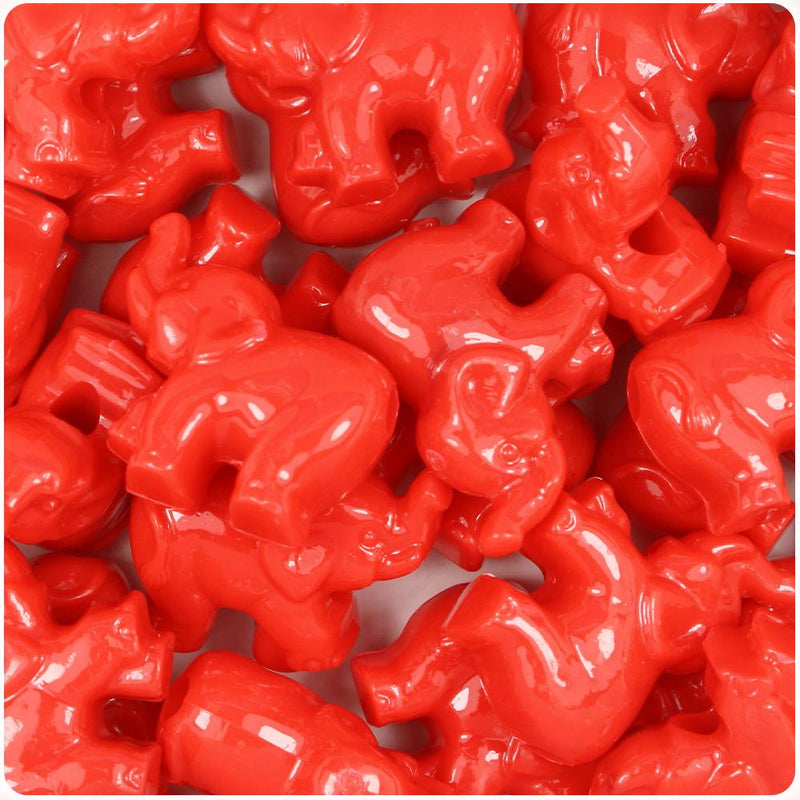 Bright Red Opaque 25mm Elephant Pony Beads (10pcs)