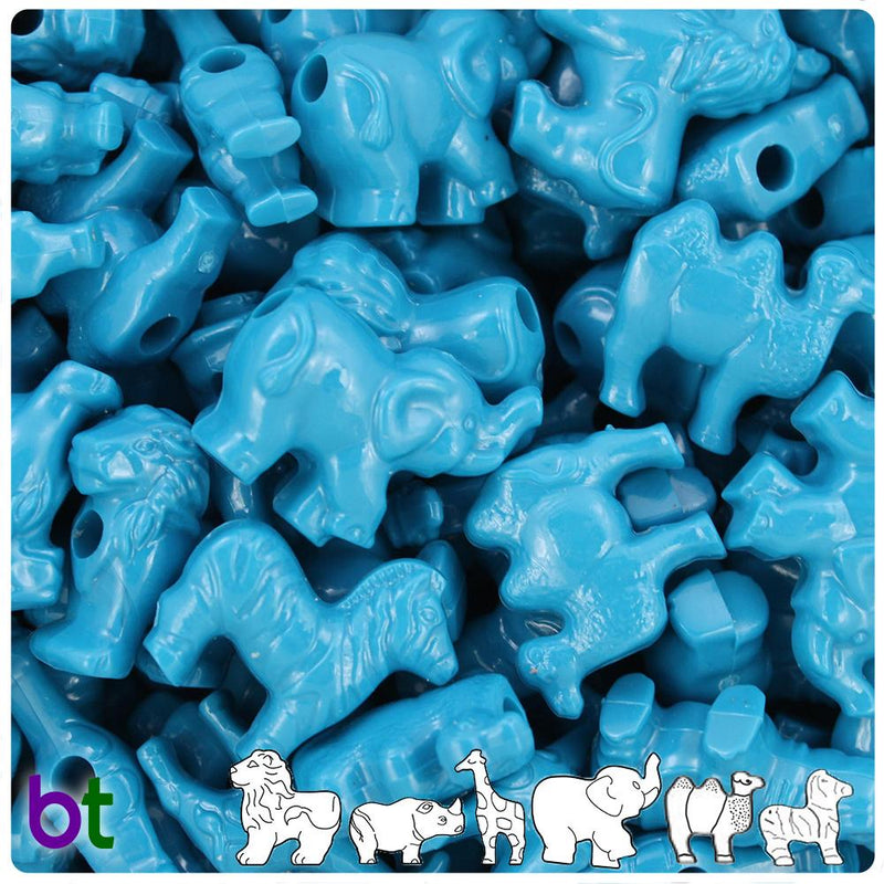 Dark Turquoise Opaque Safari Animal Pony Beads (10pcs)