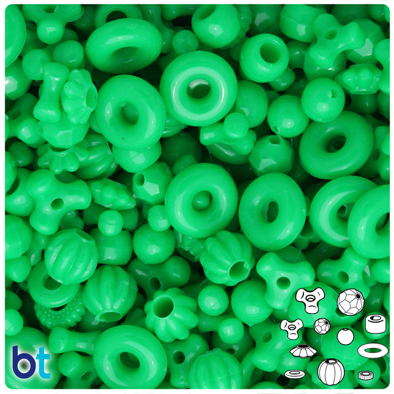Grasshopper Neon Bright Plastic Craft Bead Mix (4oz)