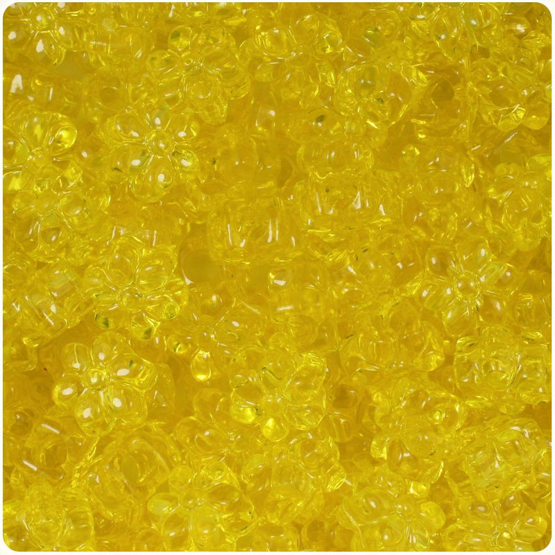 Yellow Transparent 13mm Flower Pony Beads (50pcs)
