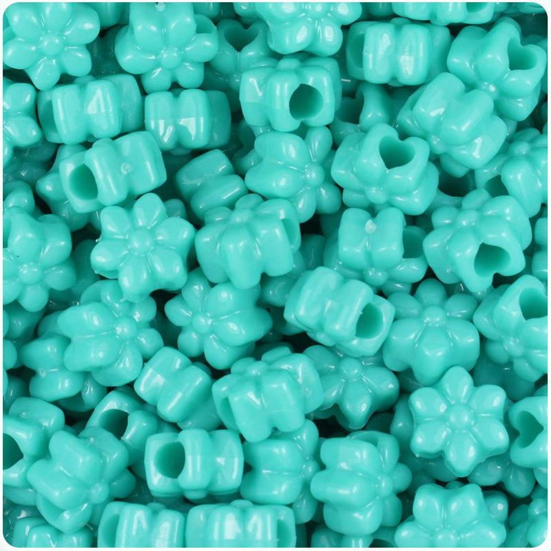 Light Turquoise Opaque 13mm Flower Pony Beads (50pcs)
