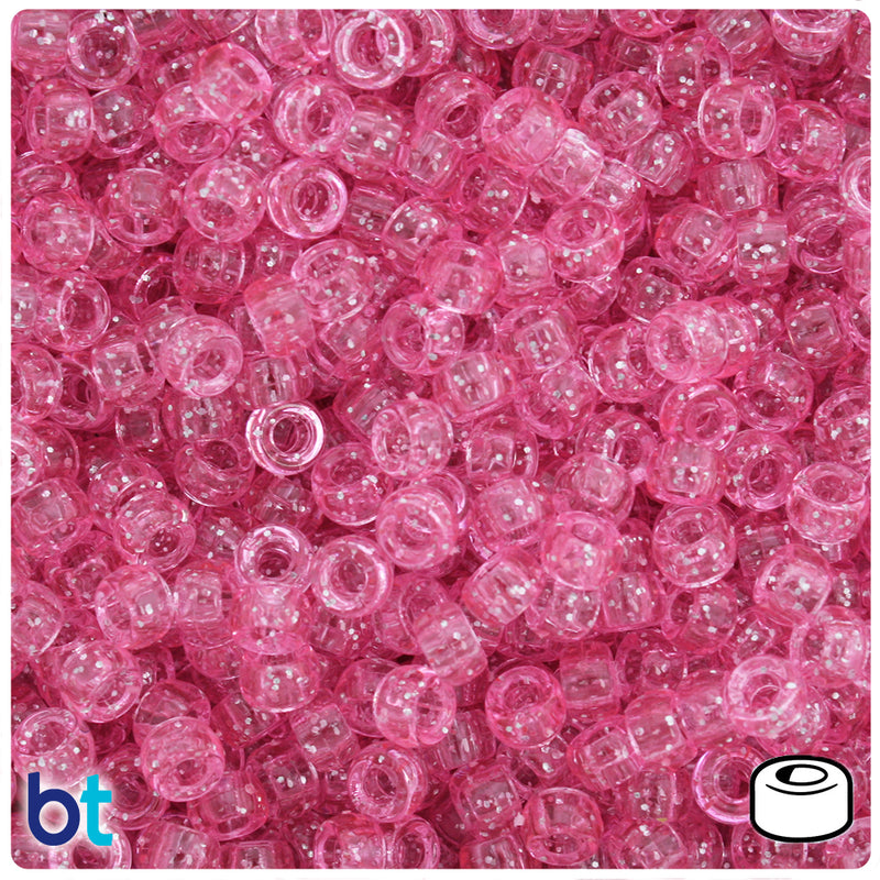 Pink Sparkle 6.5mm Mini Barrel Pony Beads (200pcs)
