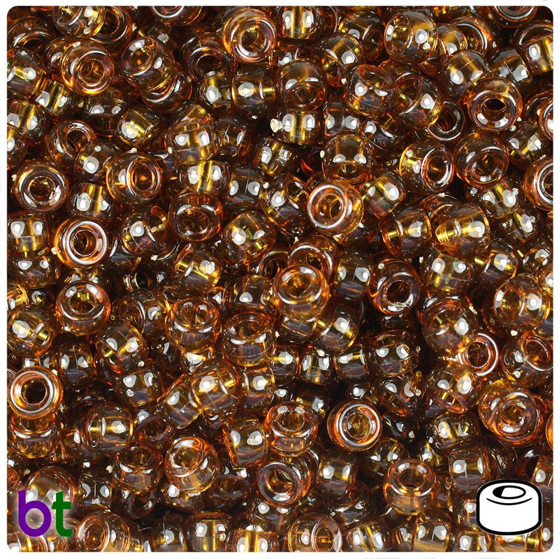 Root Beer Transparent 6.5mm Mini Barrel Pony Beads (200pcs)