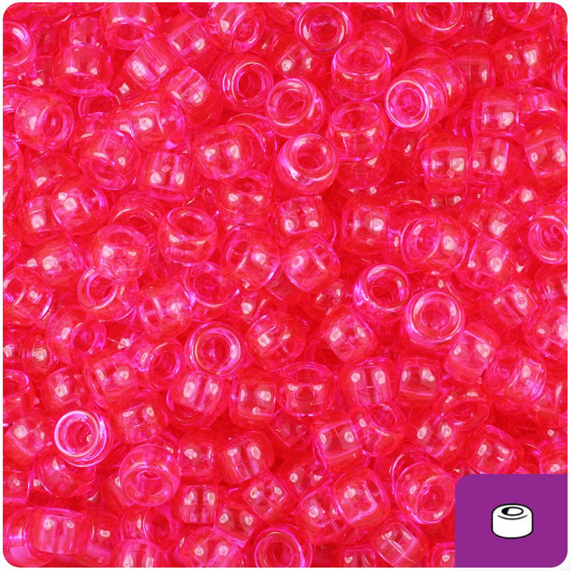 Hot Pink Transparent 6.5mm Mini Barrel Pony Beads (200pcs)