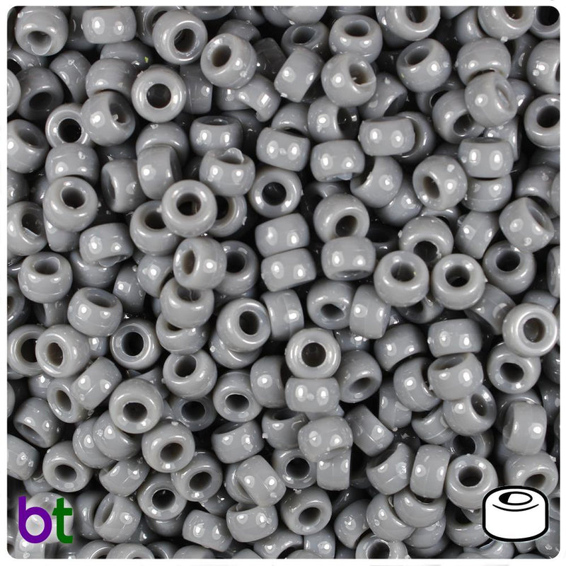 Dark Grey  Opaque 6.5mm Mini Barrel Pony Beads (200pcs)