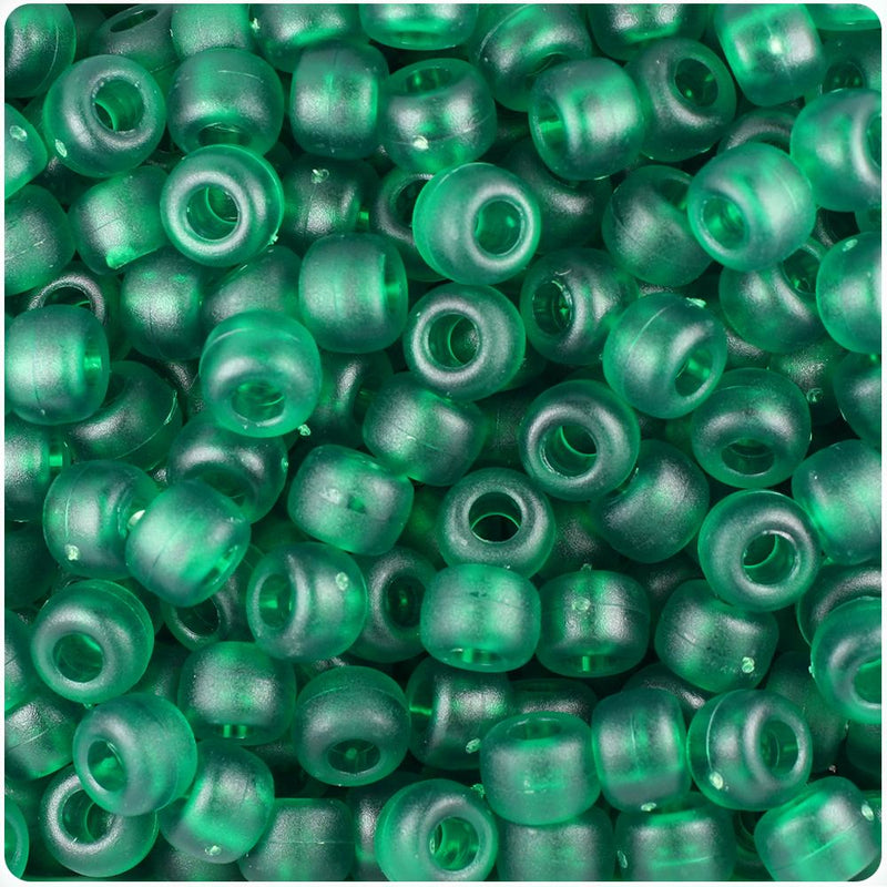 Emerald Frosted 9mm Barrel Pony Beads (100pcs)