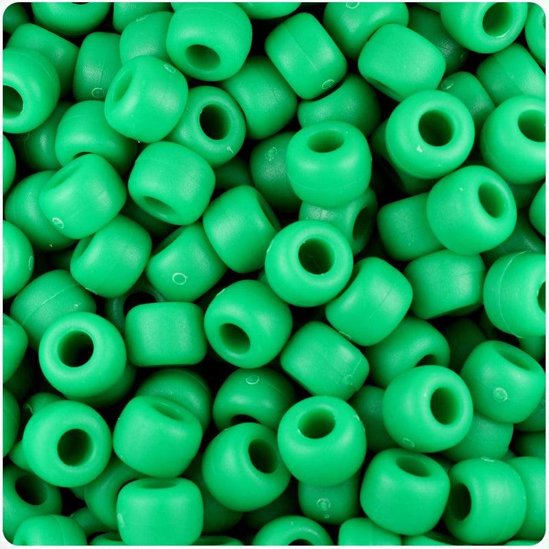 Green Matte 9mm Barrel Pony Beads (100pcs)