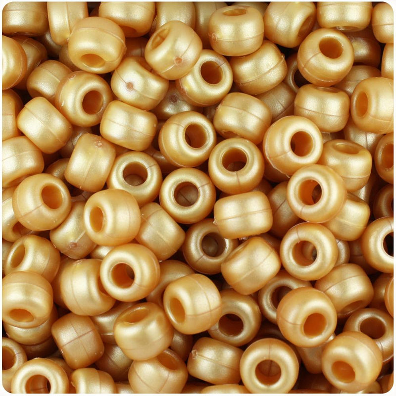 Gold Ashed Pearl 9mm Barrel Pony Beads (100pcs)
