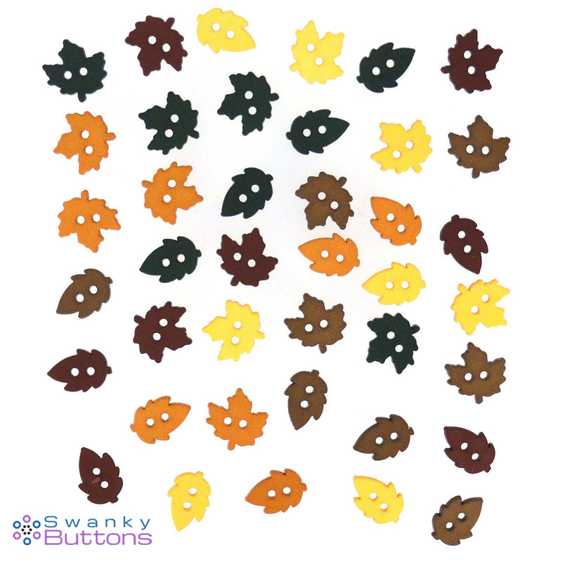 Tiny Raking Leaves Buttons