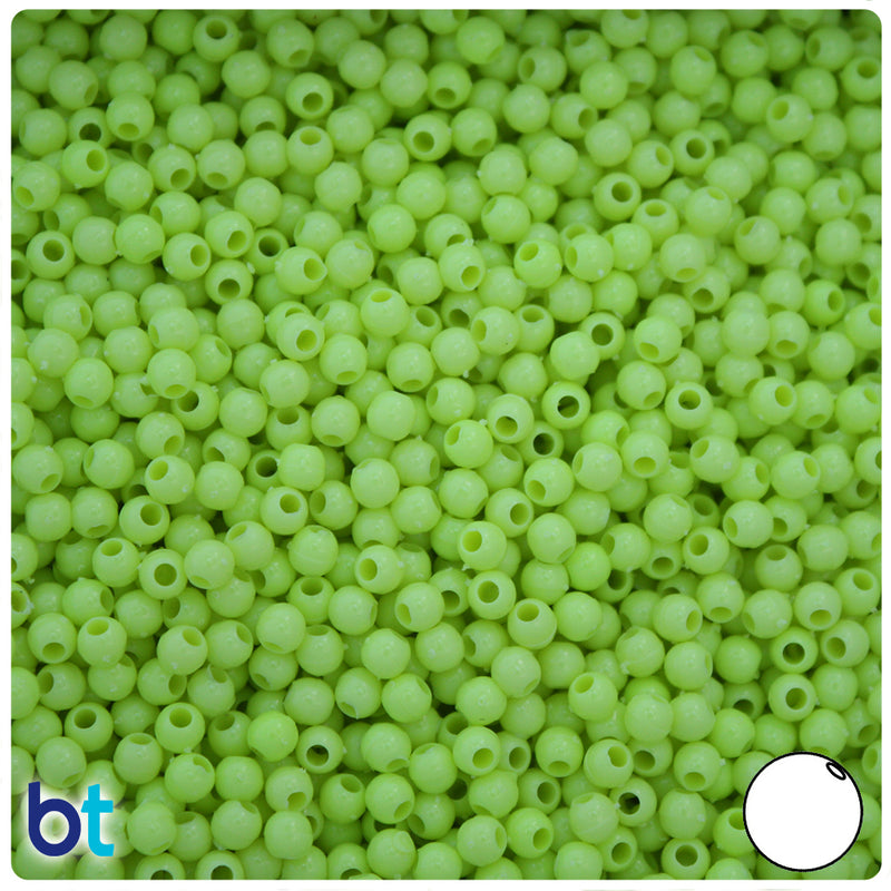 Chartreuse Green Opaque 4mm Round Plastic Beads (1000pcs)