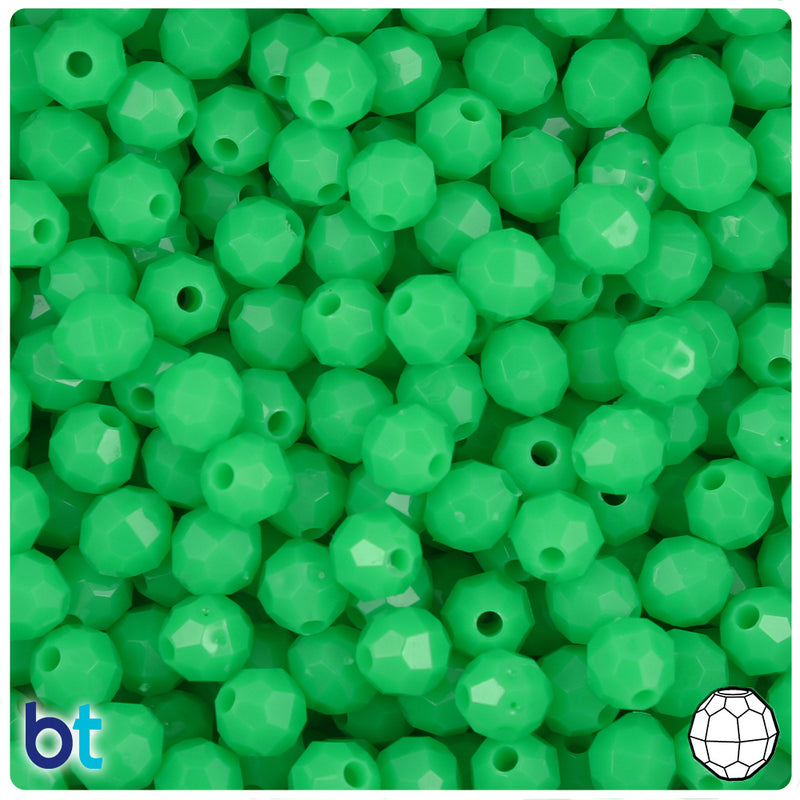 Grasshopper Neon Bright 8mm Faceted Round Plastic Beads (450pcs)