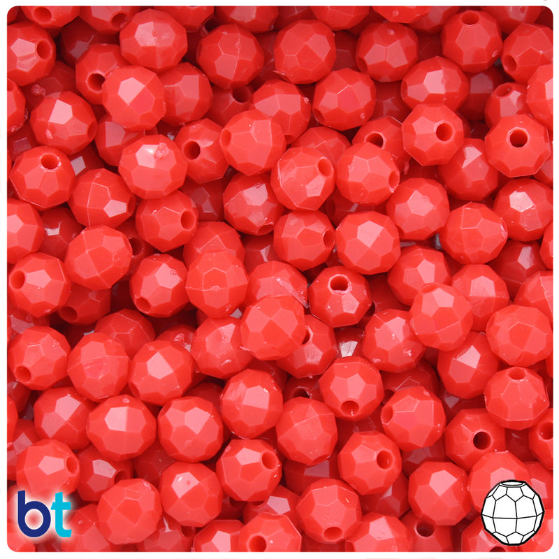 Bright Red Opaque 8mm Faceted Round Plastic Beads (450pcs)