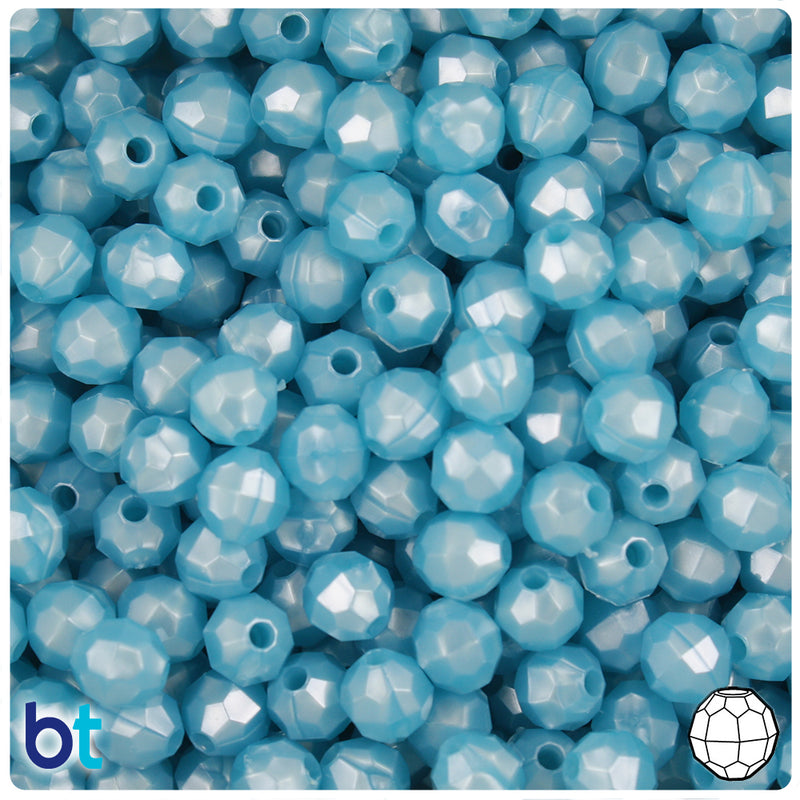Light Blue Pearl 8mm Faceted Round Plastic Beads (450pcs)