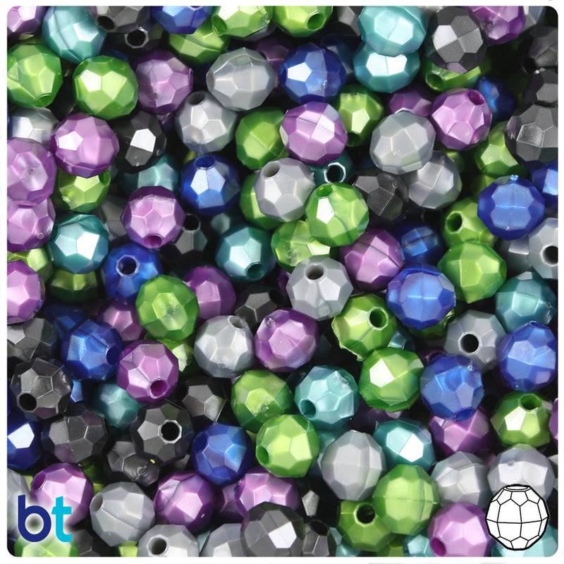 Cool Black Mix Pearl 8mm Faceted Round Plastic Beads (450pcs)