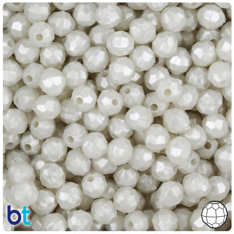 Bridal Pearl 8mm Faceted Round Plastic Beads (450pcs)