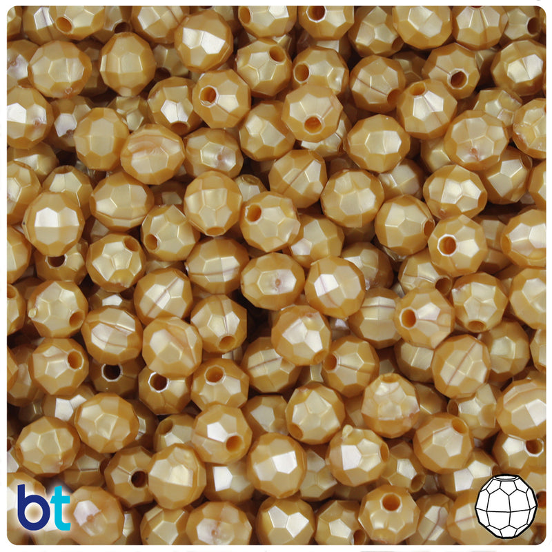Gold Pearl 8mm Faceted Round Plastic Beads (450pcs)