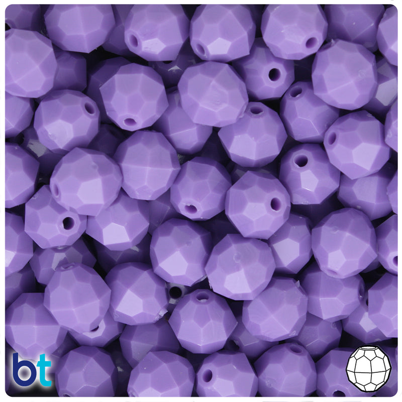 Lilac Opaque 12mm Faceted Round Plastic Beads (150pcs)