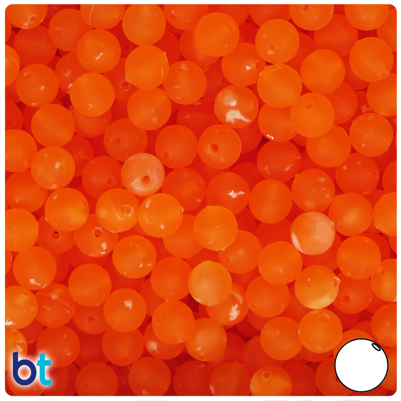 Orange Frosted w/White Swirls 8mm Round Plastic Beads (300pcs)