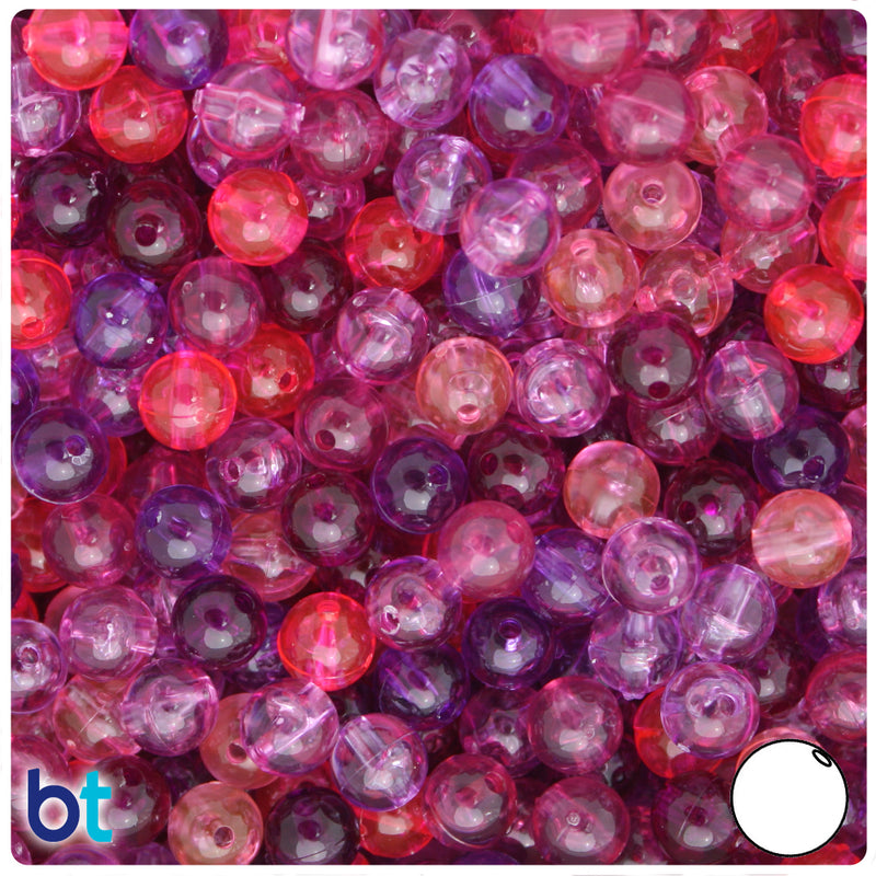 Pink & Purple Mix Transparent 8mm Round Plastic Beads (300pcs)