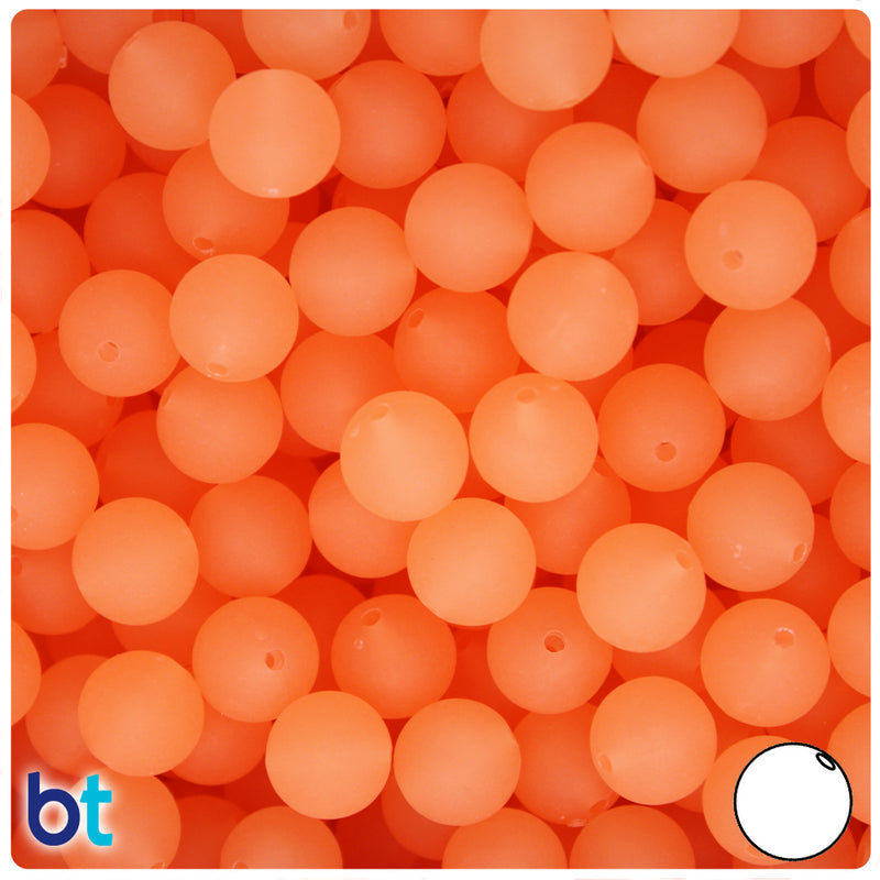 Orange Glow Frosted 10mm Round Plastic Beads (150pcs)