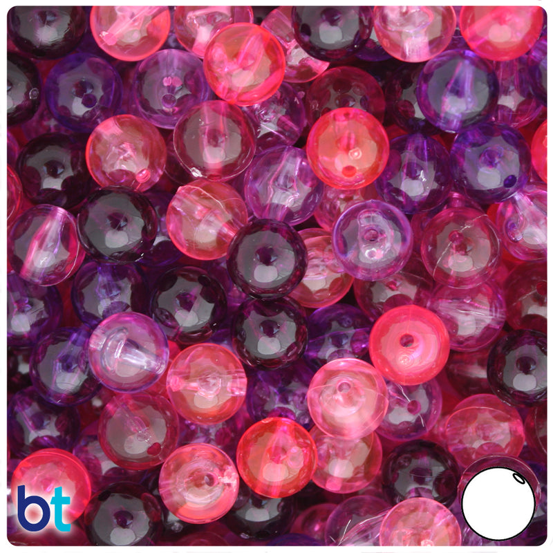 Pink & Purple Mix Transparent 10mm Round Plastic Beads (150pcs)