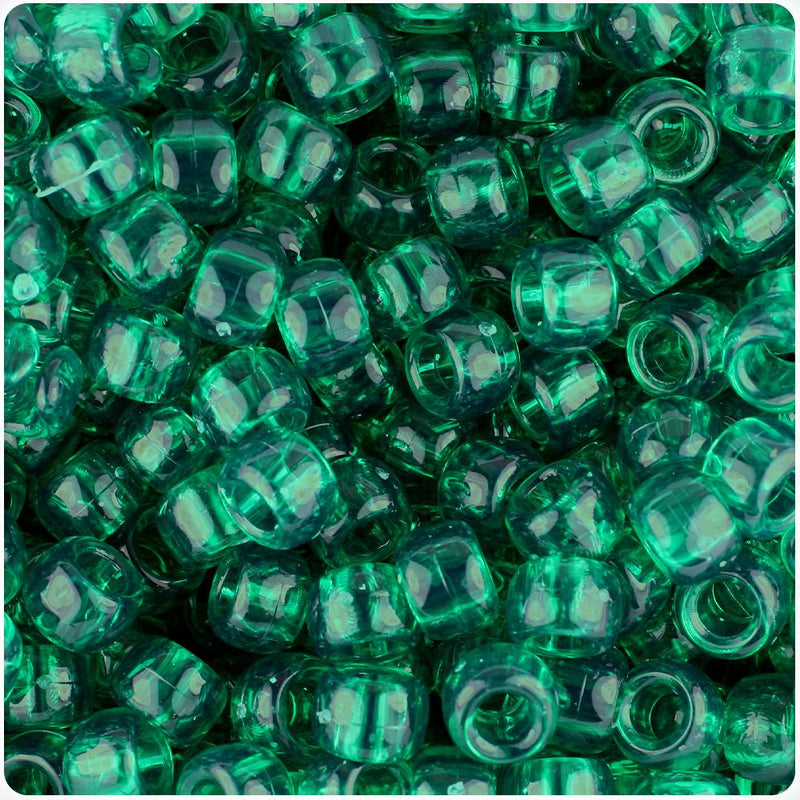 Emerald Transparent 9mm Barrel Pony Beads (100pcs)