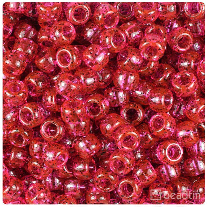 Hot Pink Black Sparkle 9mm Barrel Pony Beads (500pcs)