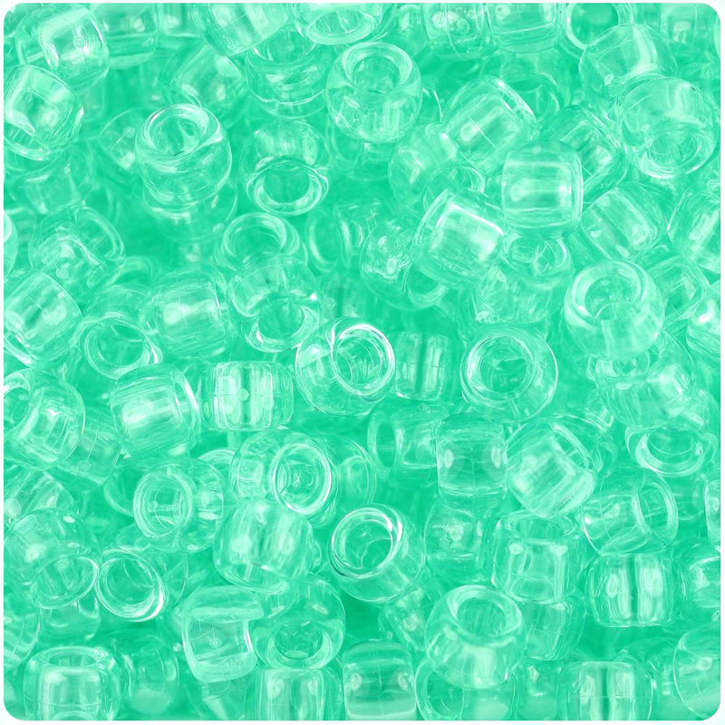 Green Aqua Transparent 9mm Barrel Pony Beads (100pcs)