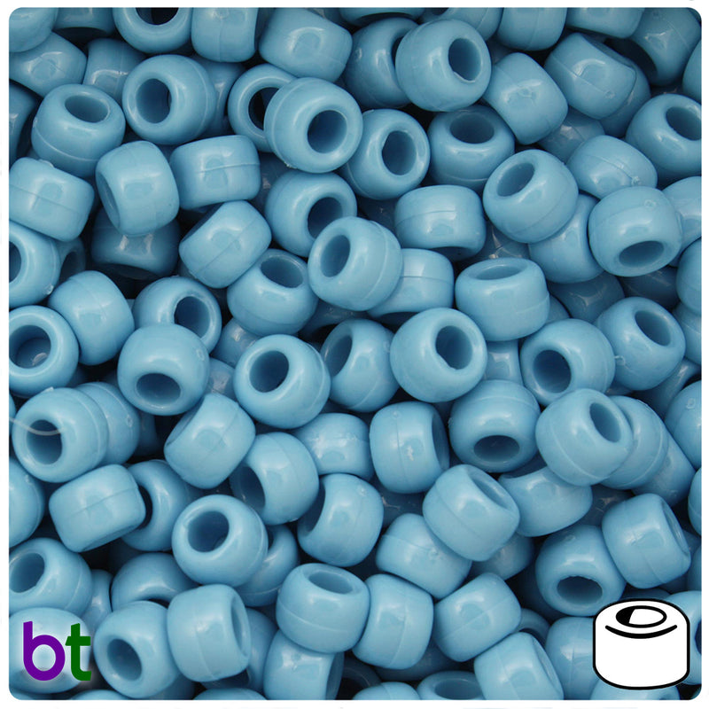 Baby Blue Opaque 9mm Barrel Pony Beads (100pcs)