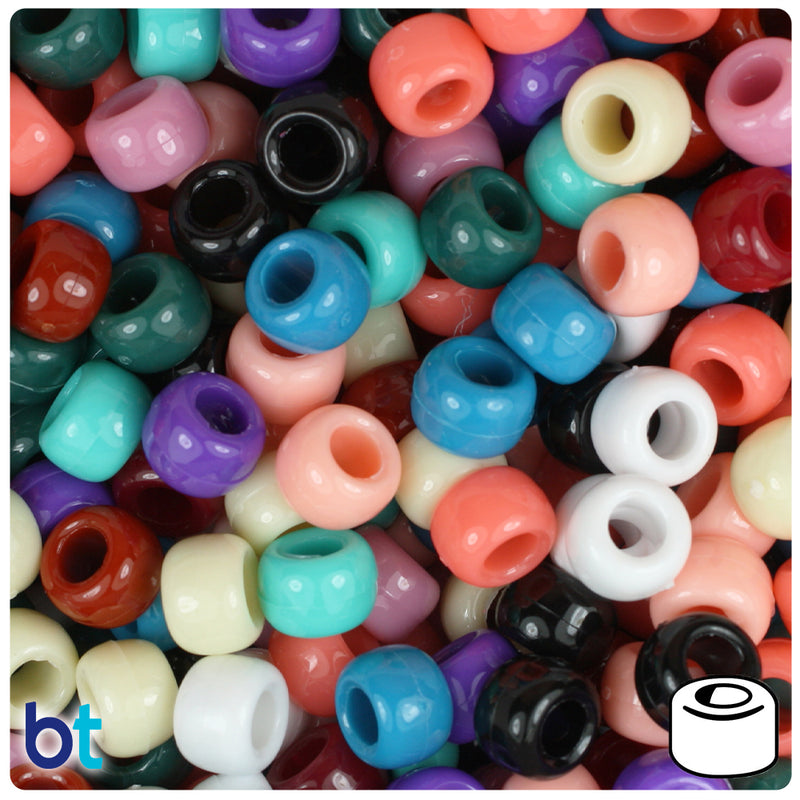 Southwest Mix Opaque 9mm Barrel Pony Beads (100pcs)