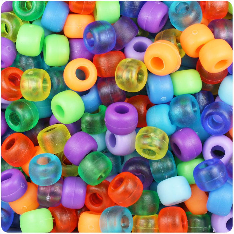 Mixed Frosted & Matte 9mm Barrel Pony Beads (100pcs)