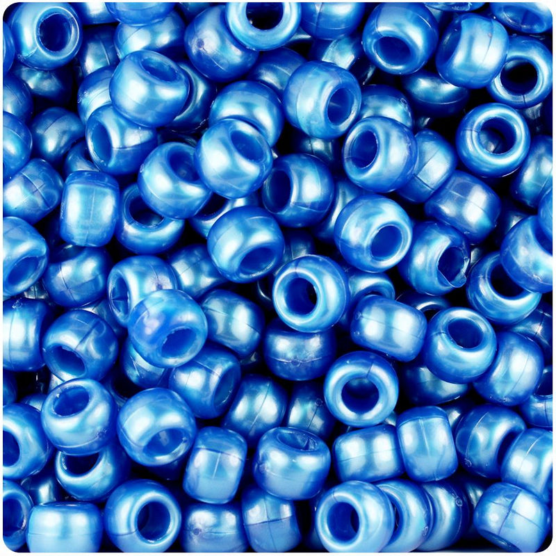 Dark Blue Pearl 9mm Barrel Pony Beads (100pcs)