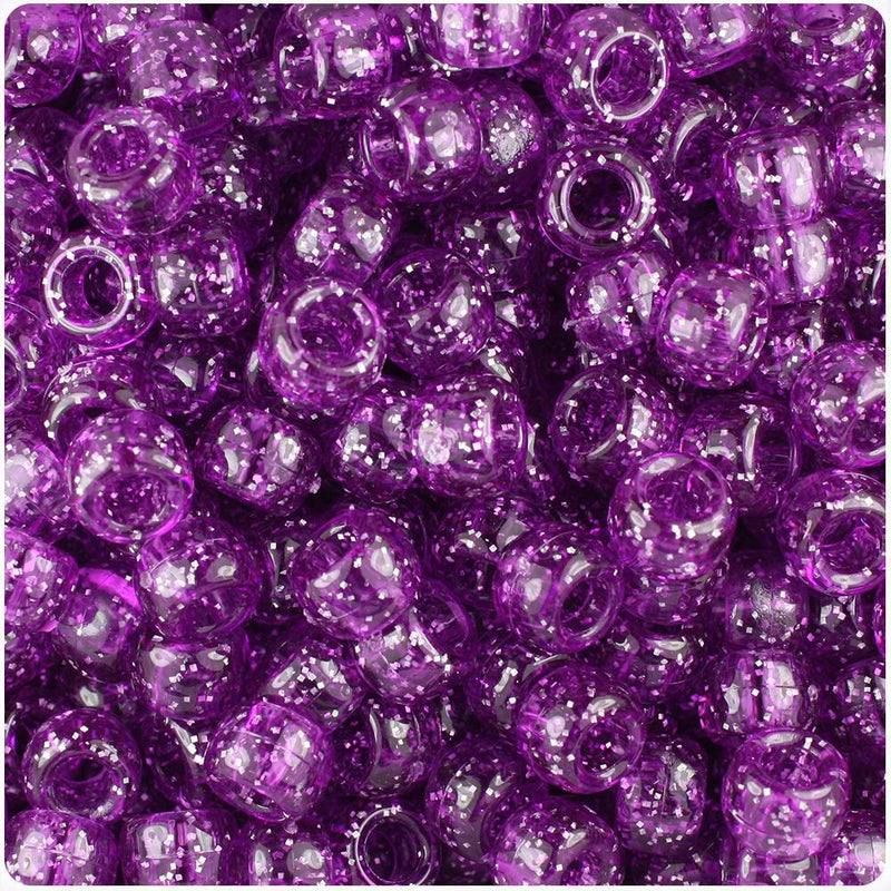 Lilac Sparkle 9mm Barrel Pony Beads (500pcs)