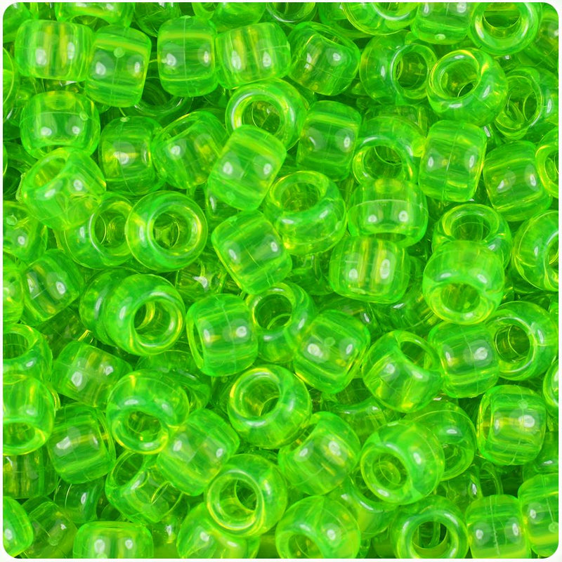 Lime Roe Transparent 9mm Barrel Pony Beads (100pcs)