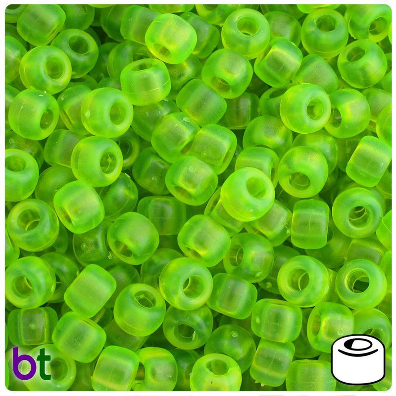 Lime Roe Frosted 9mm Barrel Pony Beads (500pcs)