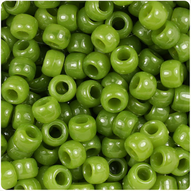 Jade Opaque 9mm Barrel Pony Beads (100pcs)