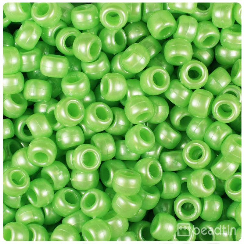 Lime Pearl 9mm Barrel Pony Beads (500pcs)