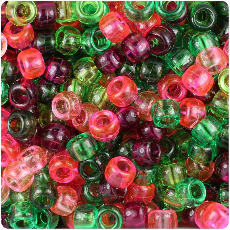 Watermelon Mix Transparent 9mm Barrel Pony Beads (500pcs)
