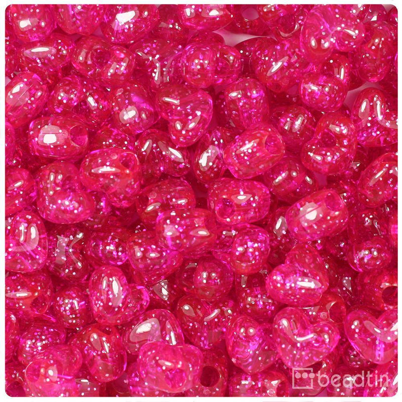 Bright Pink Sparkle 12mm Heart (VH) Pony Beads (250pcs)