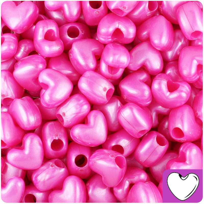 Hot Pink Pearl 12mm Heart (VH) Pony Beads (50pcs)