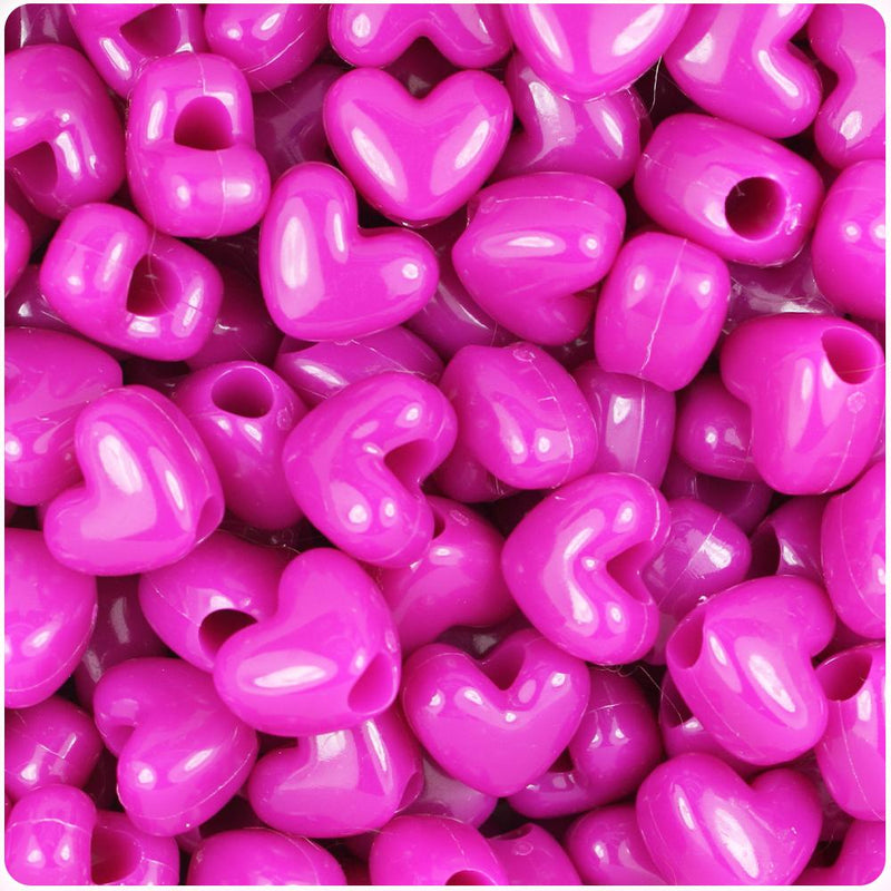 Mulberry Opaque 12mm Heart (VH) Pony Beads (50pcs)