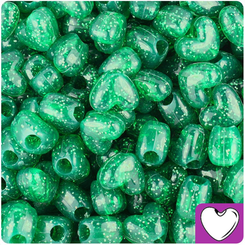 Emerald Sparkle 12mm Heart (VH) Pony Beads (50pcs)