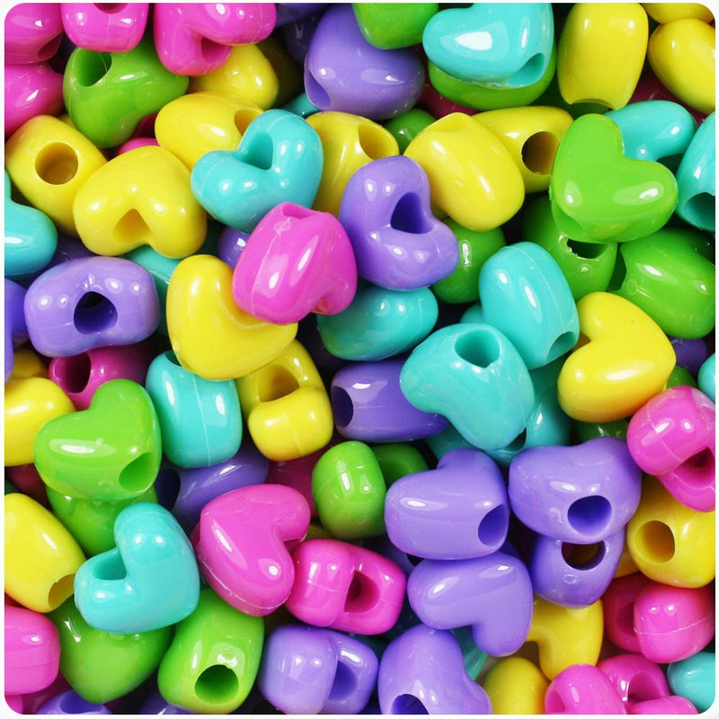 Candy Mix Opaque 12mm Heart (VH) Pony Beads (50pcs)