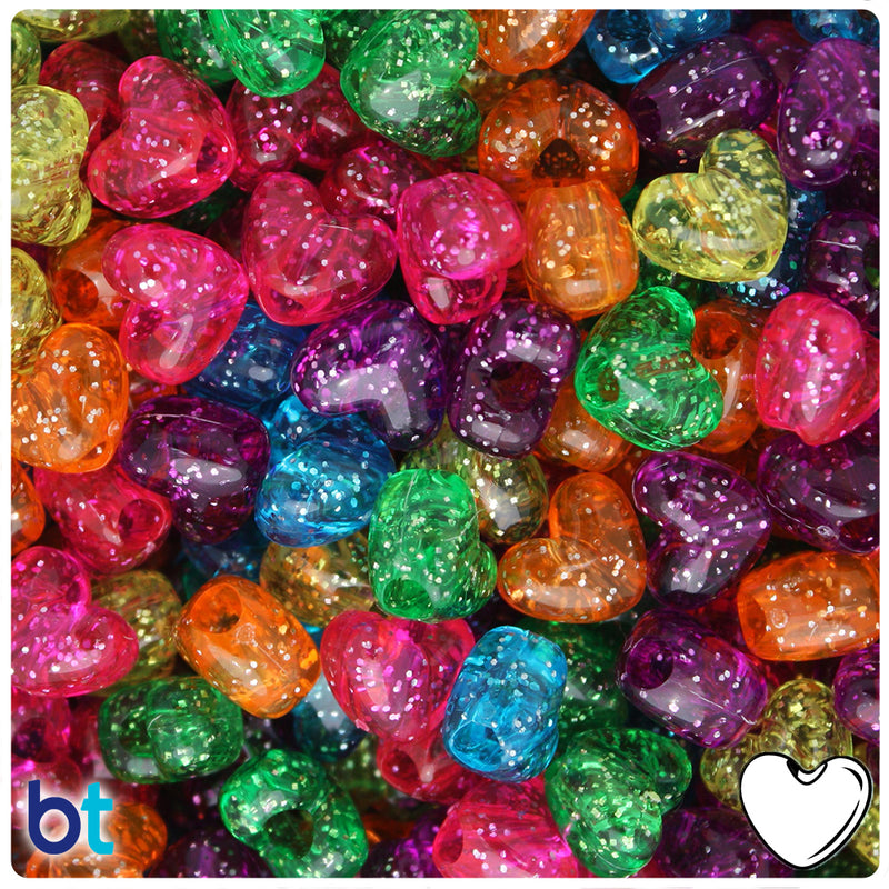 Jelly Mix Sparkle 12mm Heart (VH) Pony Beads (250pcs)