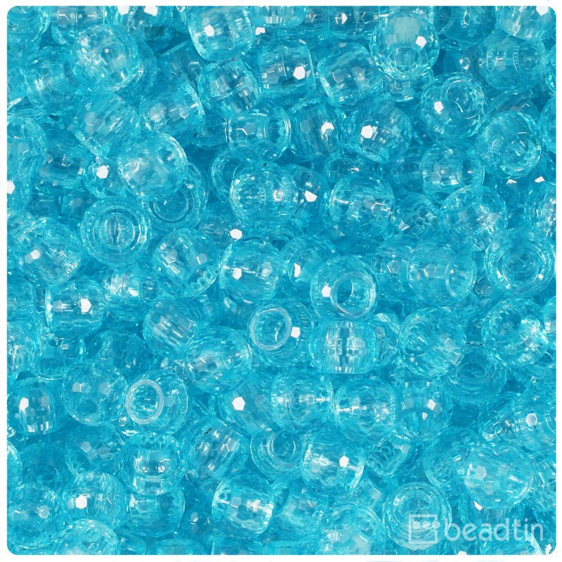 Light Turquoise Transparent 9mm Faceted Barrel Pony Beads (100pcs)